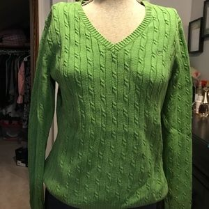 Izod Sz med green cable knit sweater